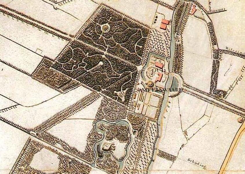 Plattegrond Oud Amelisweerd met Trapeziumbos, Domlaan en het Engelse Werk