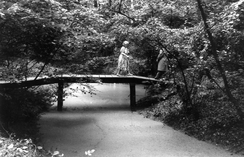 Wandelaars op een van de bruggetjes van het Engelse Werk 1965