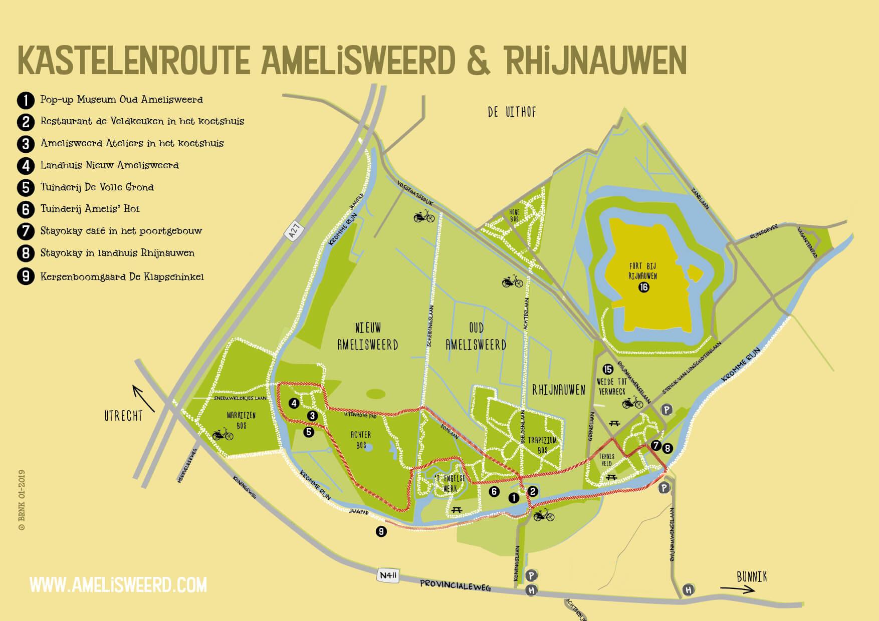 Ameliweerd Agenda flyer plattegrond 2019 kastelenroute front