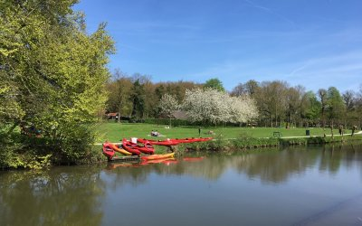 Kanoën over de Kromme Rijn bij Amelisweerd